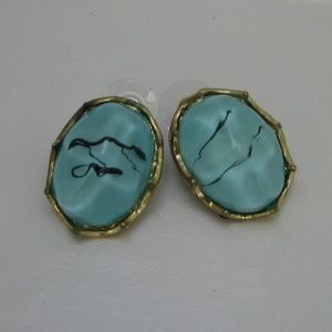 VIESTE Pierced Blue & Gold-tone Fashion Earring